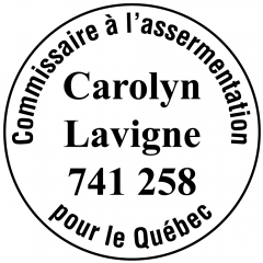 Étampe personnalisée commissaire à l'assermentation Québec - modèle 2