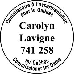 étampe personnalisée bilingue pour commissaire a assermentation quebec modele 73