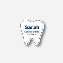 Illustration Name tag - Metal - Custom shape - Dentist - Inspiration 123