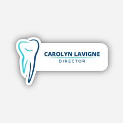 Illustration Name tag - Metal - Custom shape - dentist - Inspiration 200