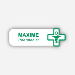 Illustration : Name tag - Metal - Custom shape - Pharmacists - Inspiration 279