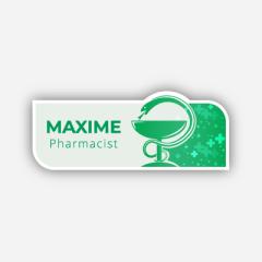 Illustration : Name tag - Metal - Custom shape - Pharmacists - Inspiration 281
