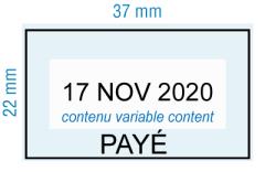 étampe personnalisée dateur - Payé avec cadre - inspiration 2006