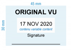 étampe personnalisée dateur - Original vu et signature - inspiration 2007