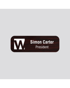 Wetag magnetic name badge wood cherry engraved white round corner different content