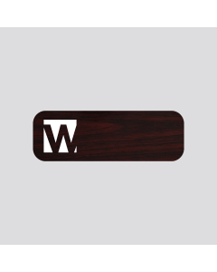 wetag magnetic name badge wood cherry engraved white round corner same content